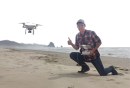 Fly drone photo beach